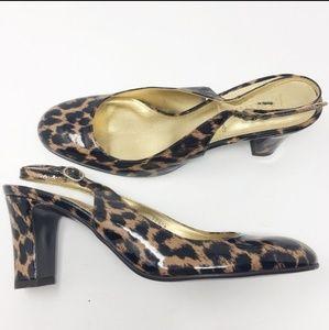 J CREW Leopard Slingback Heels Size 10 Block Heel
